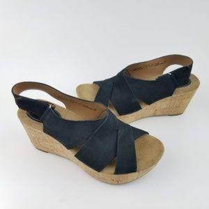 CLARKS Artisan Black Suede Cork Wedge Sandals NWOT